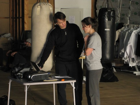Bob talking to Katy at Fitness for the Fighting Arts, Spring 2010