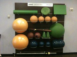 Gym equipment on a wall rack